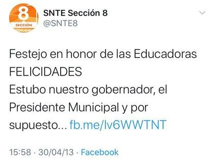 Un tuit de la cuenta del SNTE, sección octava en Chihuahua, queda como evidencia del festejó donde bailó Duarte (Foto: Twitter@SNTE8)