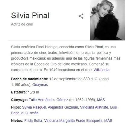 Algún bromista fue quien editó la información de la actriz en Wikipedia (Foto: Captura de pantalla)