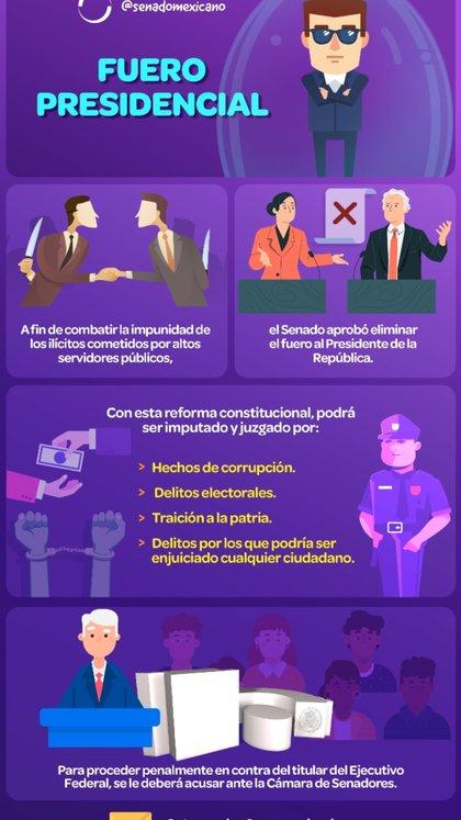El presidente de México podrá ser juzgador si se lo denuncia ante el Senado (Foto: Senado mexicano)