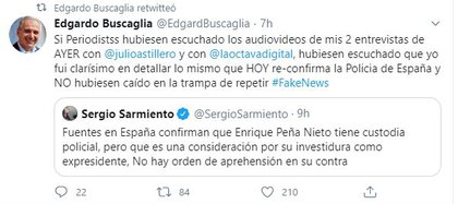 Captura de las publicaciones del especialista acalarando el tema sobre la presunta custodia de Peña Nieto en España (Foto: Captura de Twitter @EdgardBuscaglia)