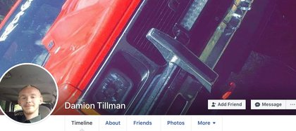 En su cuenta de Facebook Damion Tillman mostraba su camioneta, en la que llegó al lago donde sería asesinado