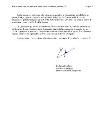 Página 2 de 2: invitación de la Organización Panamericana de la Salud (OPS) para Hugo López-Gatell (Foto: Cortesía)