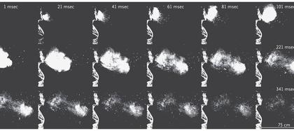 Prueba de laboratorio del alcance de un estornudo (Foto: The New England Journal of Medicine)