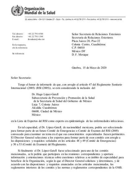 Página 1 de 2: invitación de la Organización Panamericana de la Salud (OPS) para Hugo López-Gatell (Foto: Cortesía)