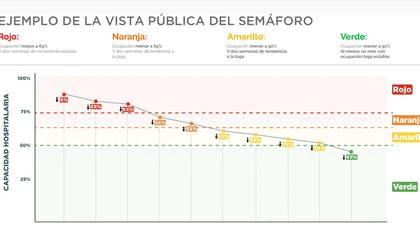 La forma en la que el gobierno local estima sea el comportamiento en relación con la ocupación hospitalaria (Foto: Captura de pantalla)