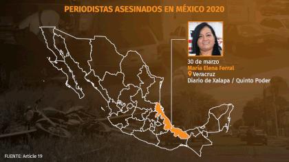 Al menos siete periodistas han sido asesinados en lo que va del 2020, según información de Artículo 19 (Gráfico: Infobae México/ Jovany Pérez Silva)