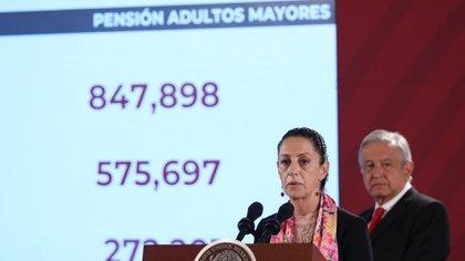Claudia Sheinbaum, jefa de Gobierno de la Ciudad de México, presentó las cifras del número de benficiario de las pensiones para adultos mayores en la capital (Foto: Cuartoscuro)