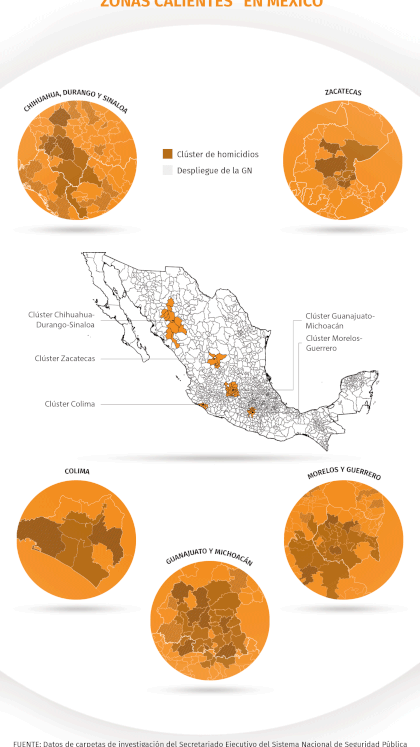 Los hot spots (o zonas calientes) en el país (Mapa: Infobae México)